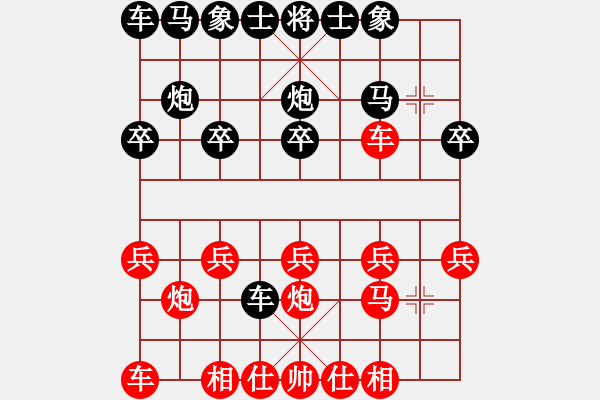 象棋棋谱图片:19 让左马得先顺炮直车局 - 步数:10