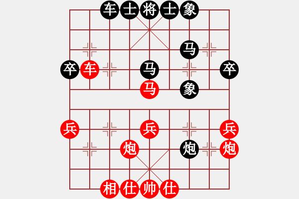 象棋棋谱图片:四3 河南姚洪新先胜河南郑州侯文博 - 步数:40