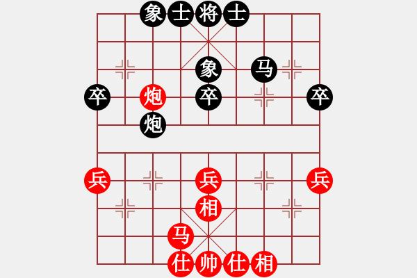 象棋棋谱图片:2019第四届智运会专男团赛程宇东先和王跃飞1 - 步数:40